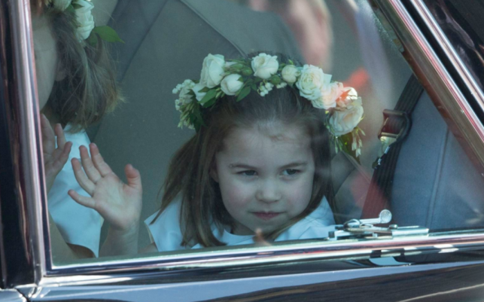 princess charlotte waving, royal wedding