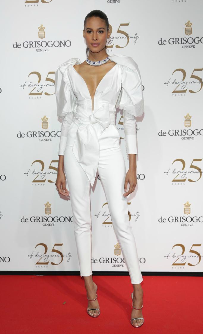 De Grisogono Party, cannes film festival red carpet, Cindy Bruna wearing Yolancris haute couture,