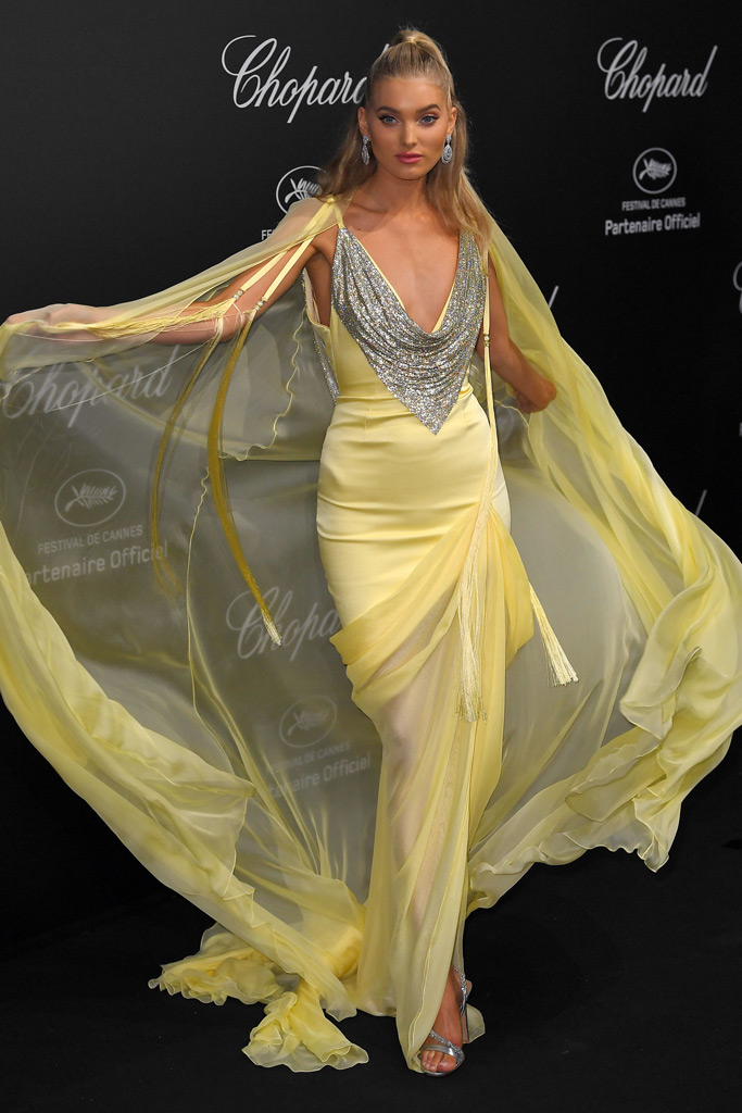 elsa hosk, cannes film festival, leggy yellow cape dress, silver sandals, twirl