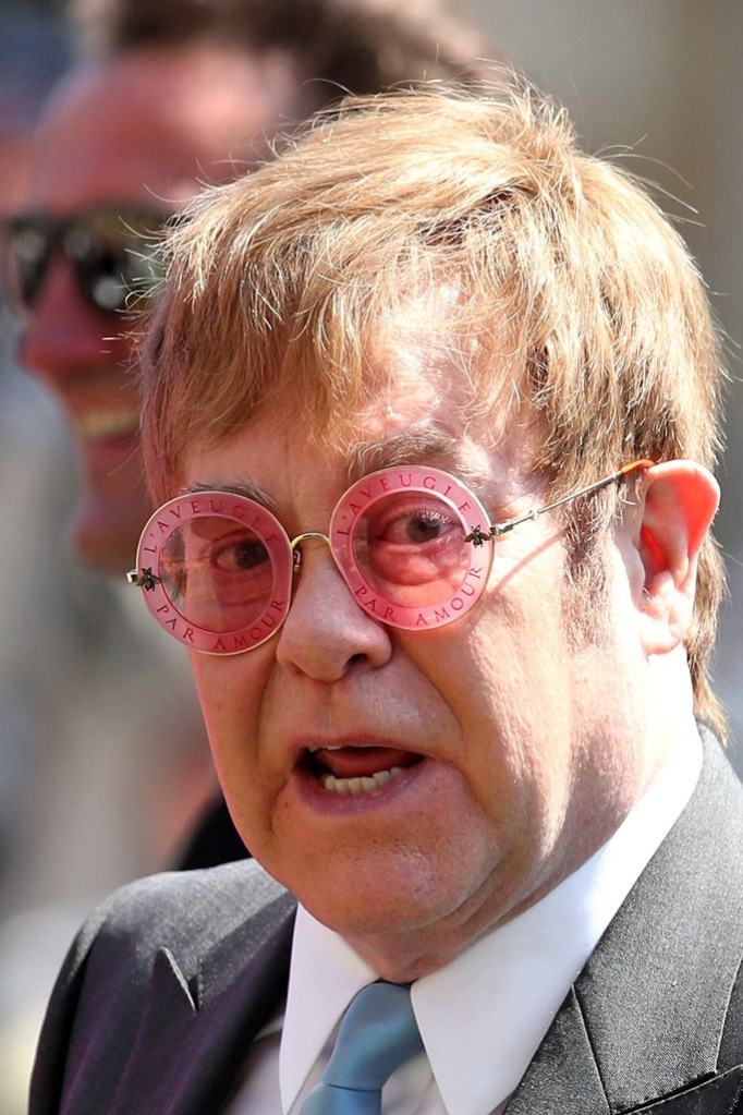 elton john, royal wedding, glasses