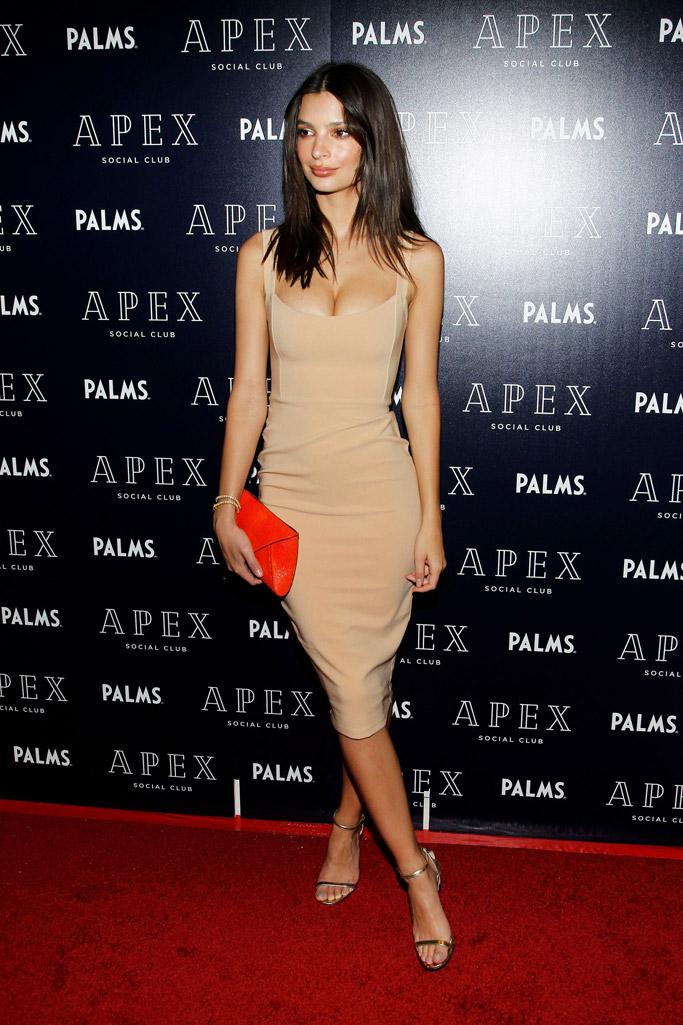 Emily Ratajkowski, gold jimmy choo sandals, nude dress