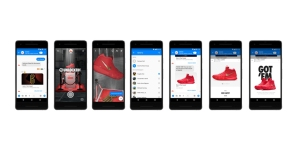 Phone screens showing Nike's Facebook Messenger AR shopping features.