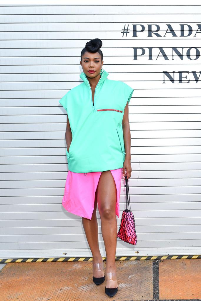 Gabrielle Union, celebrity style, prada front row