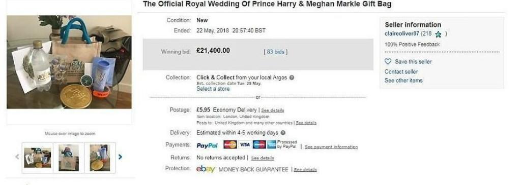 royal wedding goodie bag ebay