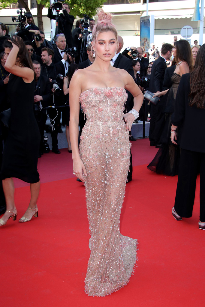 hailey baldwin, sheer gown, cannes film festival, red carpet, style, naked dress, underwear,