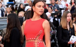 Irina Shayk, cannes, red dress, versace