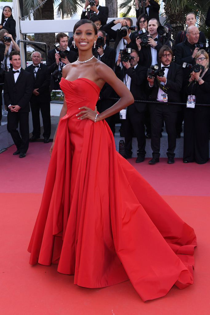 jasmine tookes, victoria's secret model, celebrity style, cannes film festival, red gown