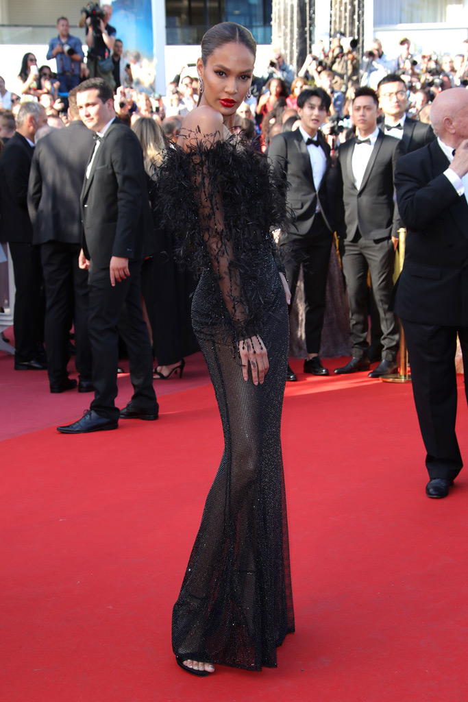 joan small, black gown, feathers, sandals, cannes film festival, sheer gown