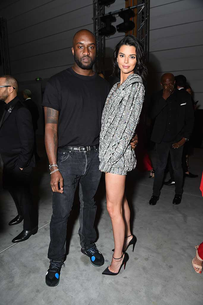 Virgil Abloh and Kendall Jenner attend the Fashion for Relief benefit event at Cannes 2018.
