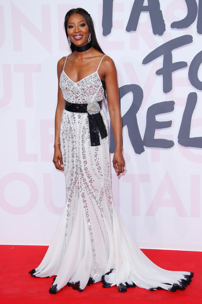 naomi campbell, cannes, silver and white gown, red carpet