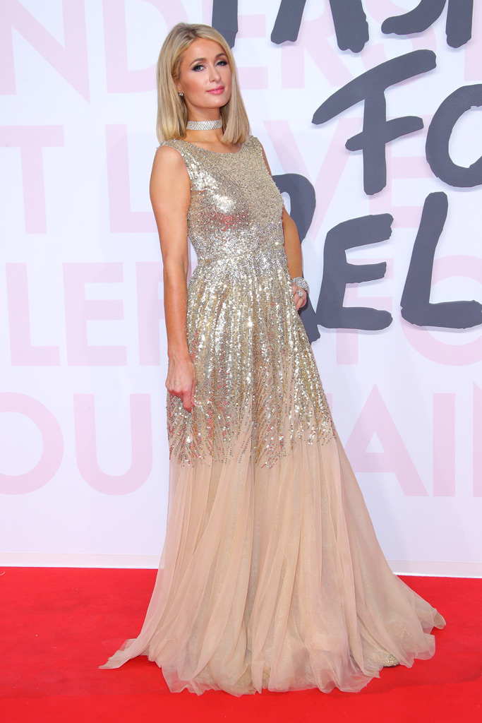 paris hilton, gold sequins, gown, fashion for relief, cannes