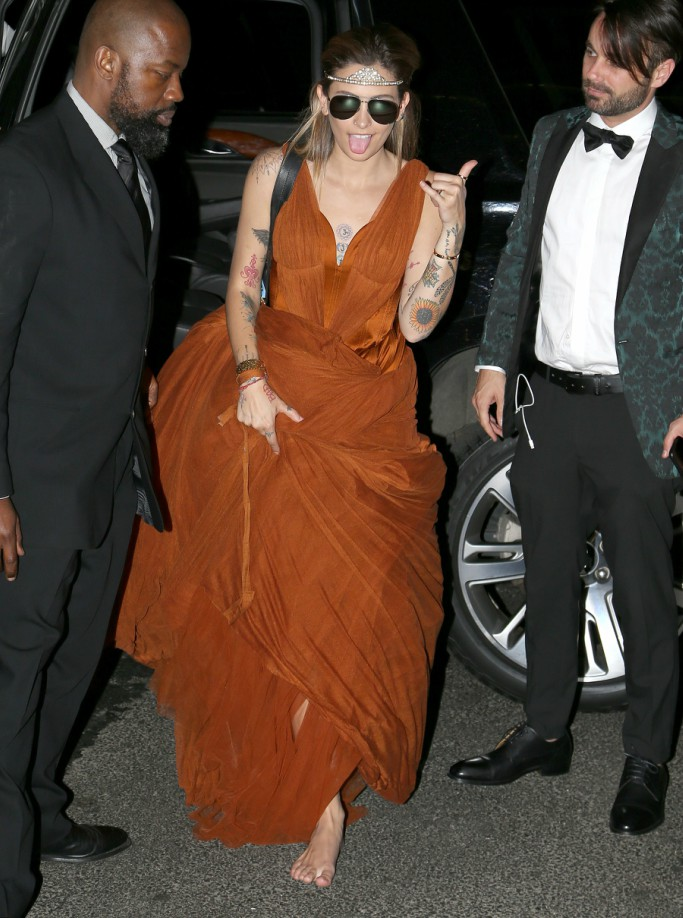 met gala after party, paris jackson, barefoot