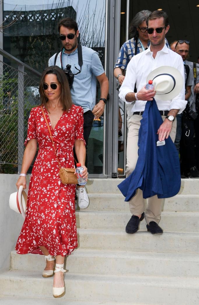 Pippa Middleton wearing a Polo Ralph Lauren wrap dress, james matthews, french open 2018