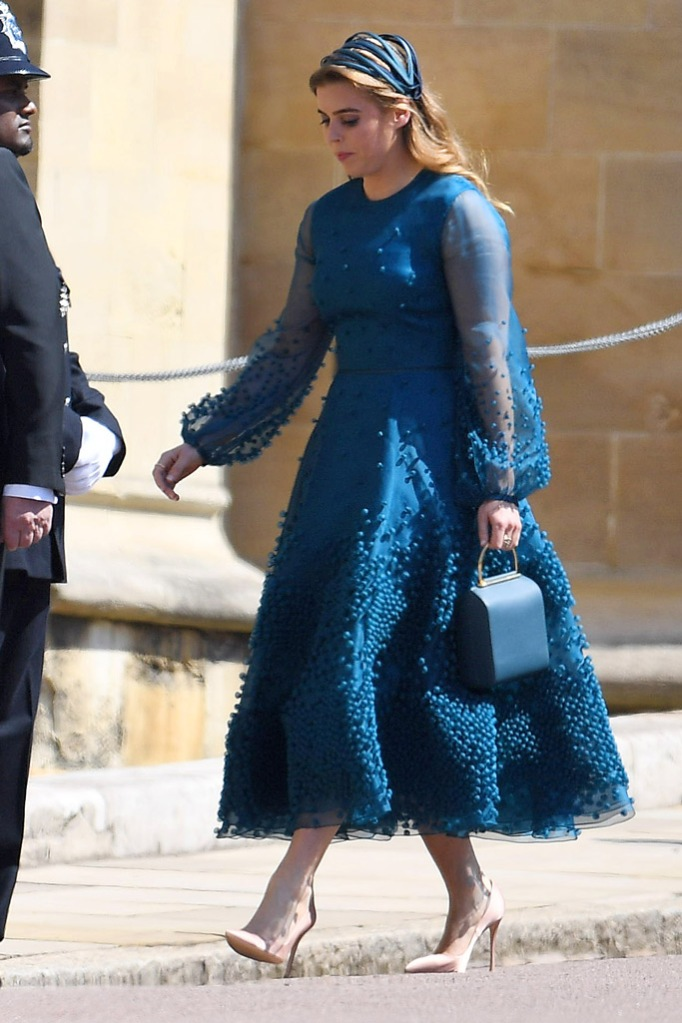 princess beatrice, nude pumps, teal dress, royal wedding 2018 fashion