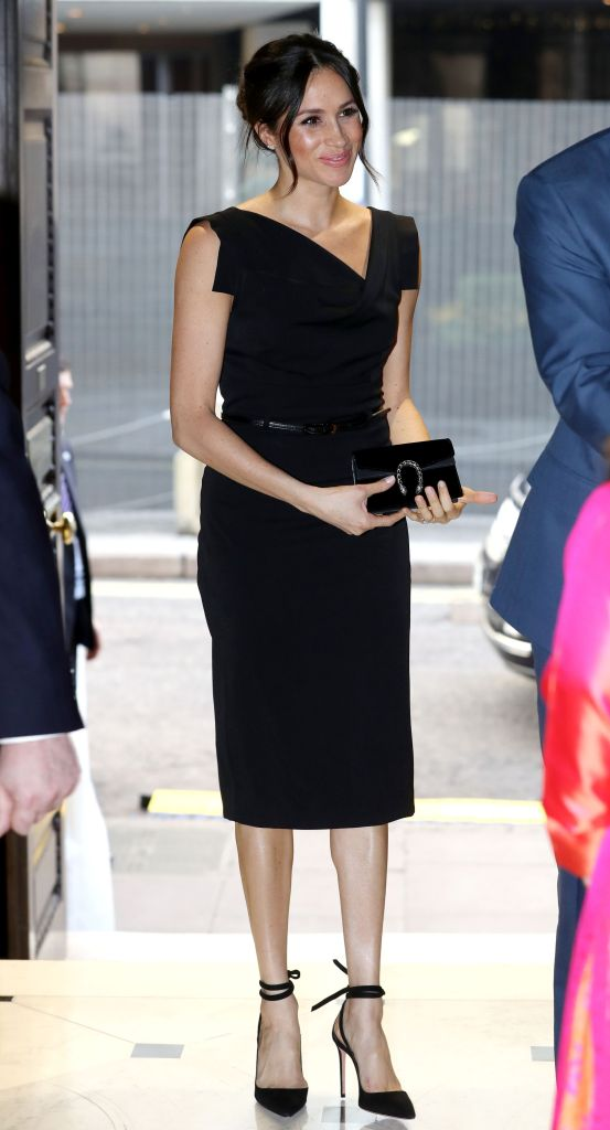 Meghan Markle attends the Women's Empowerment reception hosted by Foreign Secretary Boris Johnson during the Commonwealth Heads of Government Meeting at the Royal Aeronautical SocietyWomen's Empowerment reception, Commonwealth Heads of Government Meeting, London, UK - 19 Apr 2018 WEARING BLACK HALO DRESS BAG BY GUCCI SHOES BY AQUAZZURA