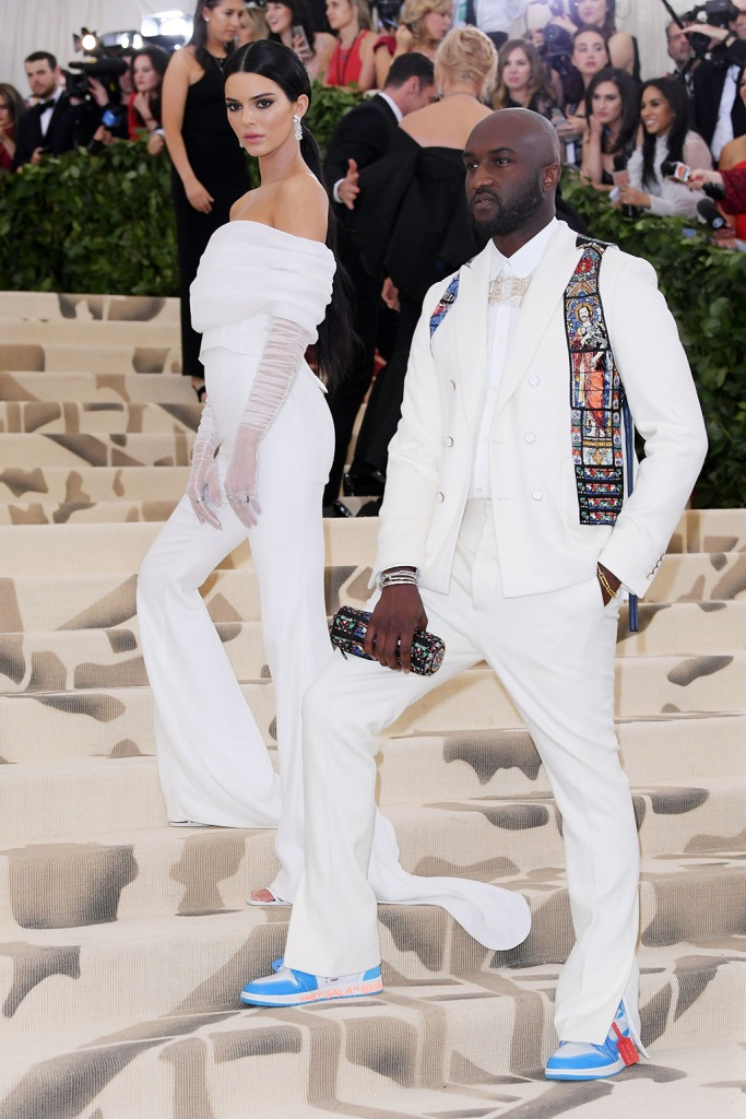 Kendall Jenner and Virgil AblohThe Metropolitan Museum of Art's Costume Institute Benefit celebrating the opening of Heavenly Bodies: Fashion and the Catholic Imagination, Arrivals, New York, USA - 07 May 2018WEARING OFF-WHITE