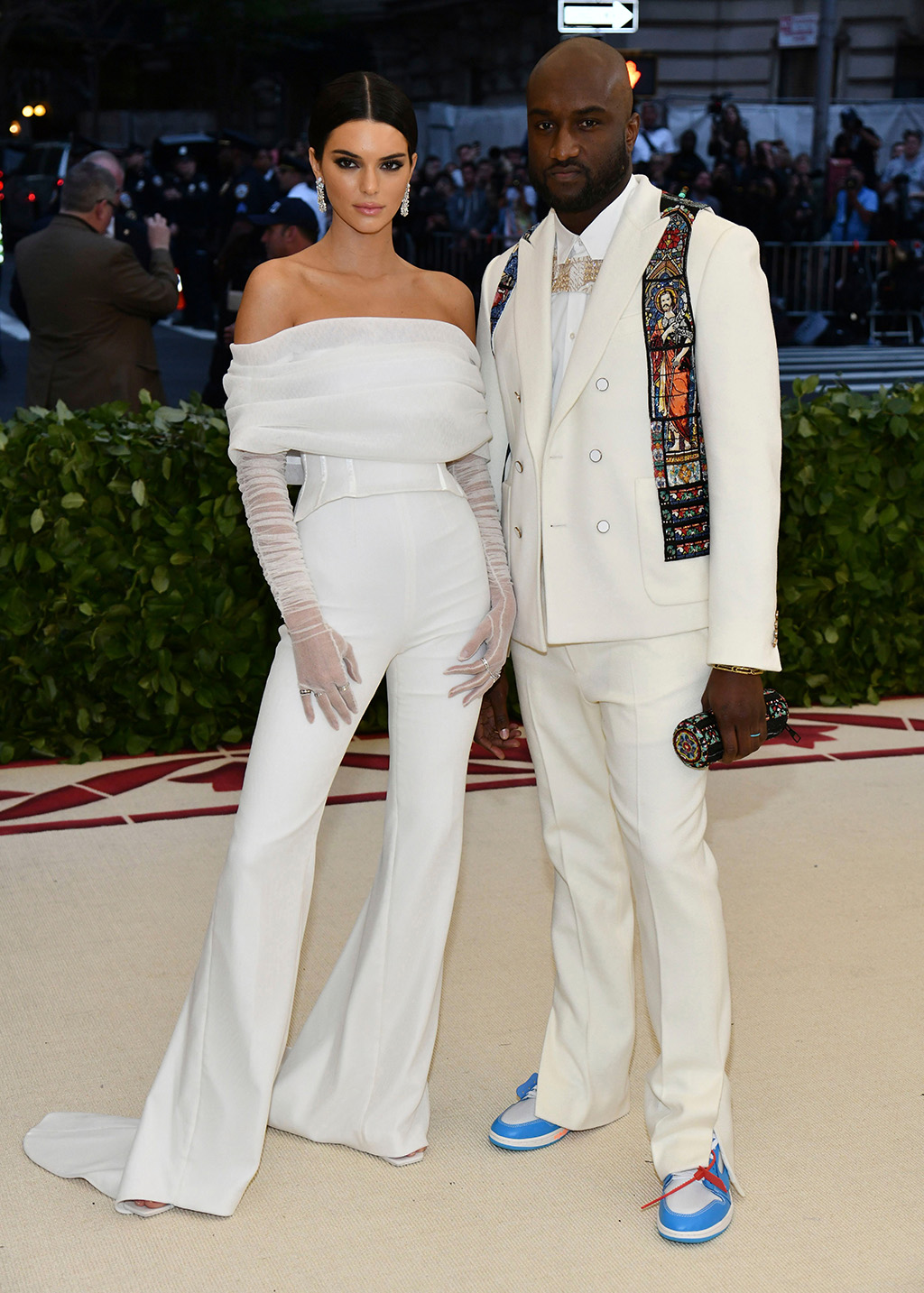Kendall Jenner, Virgil Abloh. Kendall Jenner, left, and Virgil Abloh attend The Metropolitan Museum of Art's Costume Institute benefit gala celebrating the opening of the Heavenly Bodies: Fashion and the Catholic Imagination exhibition, in New York2018 MET Museum Costume Institute Benefit Gala, New York, USA - 07 May 2018