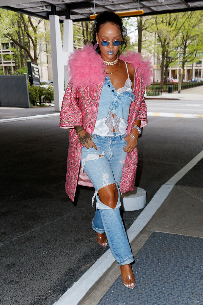 rihanna, dentist, marc jacobs pink coat, savage x fenty camisole, clear shoes, see through shoe trend, celebrity style