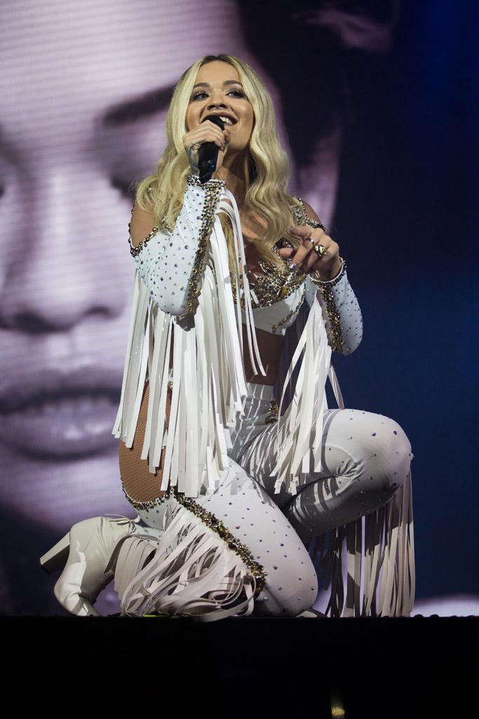Rita Ora, concert, tour, julien macdonald, zanotti boots
