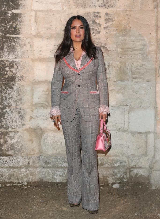 salma hayek, custom Gucci Prince Of Wales two button peak lapel suit