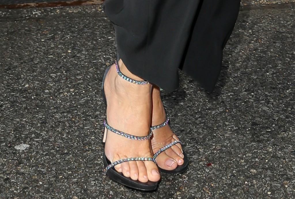 crystal sandals, sandra bullock feet