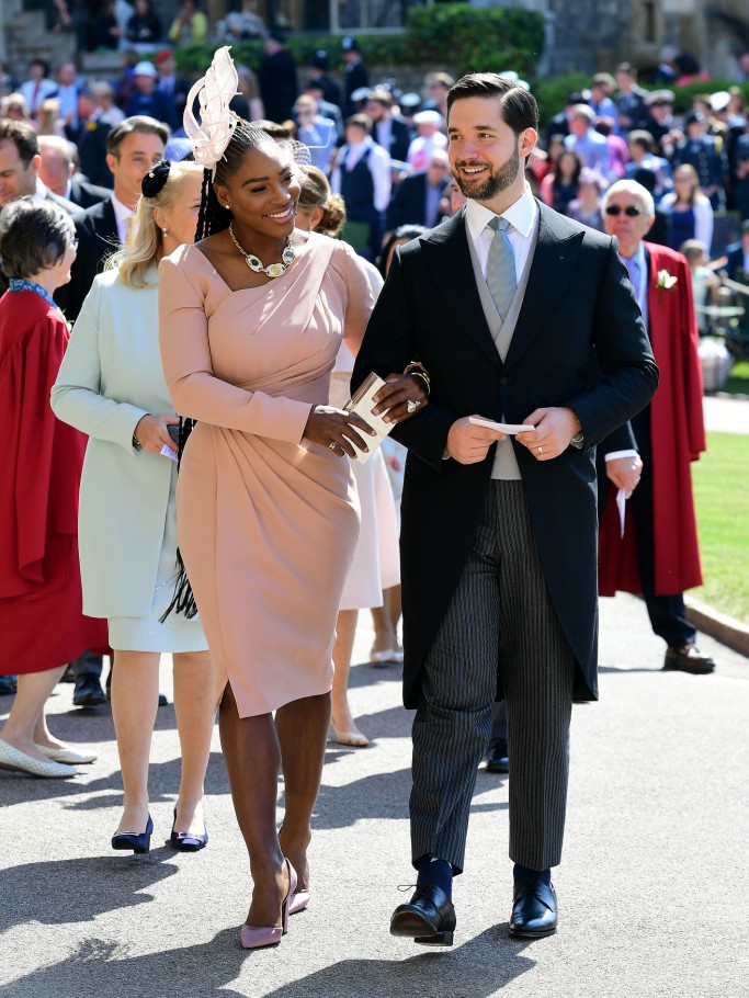 serena williams, alexis ohanian, royal wedding, versace dress, celebrity style,