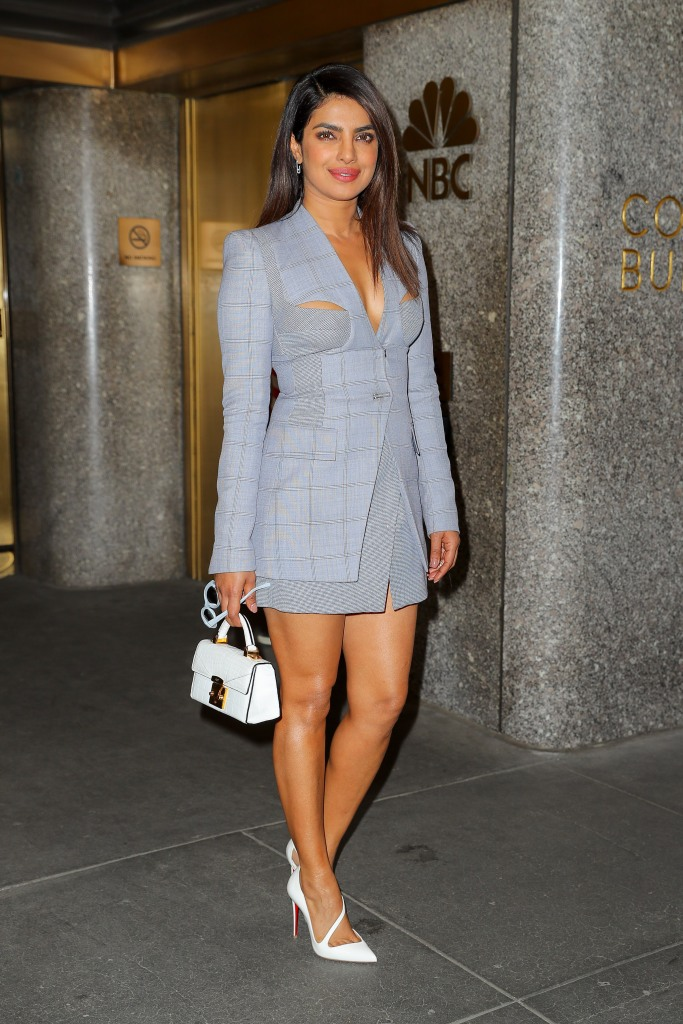Priyanka Chopra looks stylish in a plaid grey outfit while leaving the 'Late Night with Seth Meyers' show.