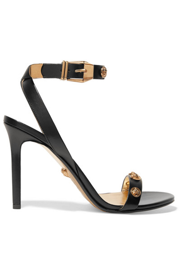versace, leather tribute sandals