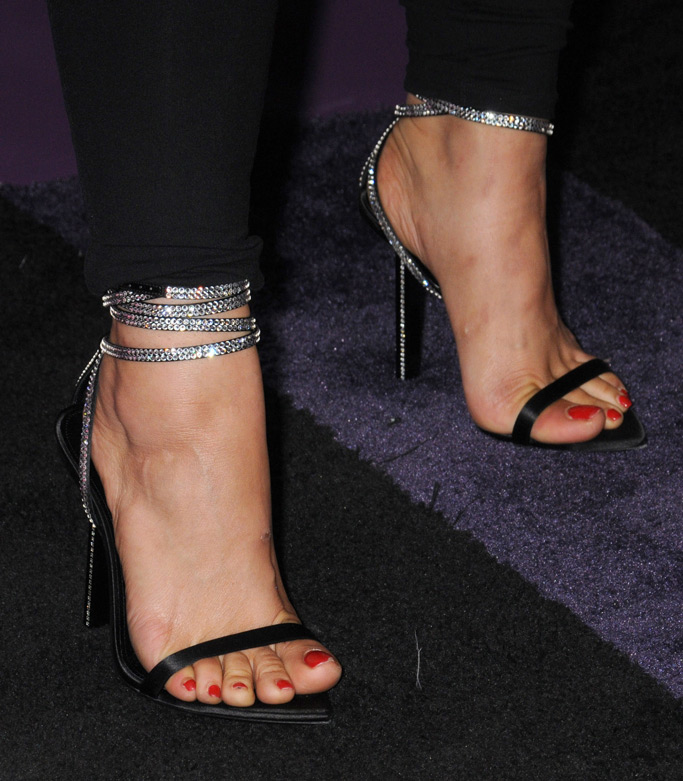 Bebe Rexha feet, red carpet style, sparkly sandals