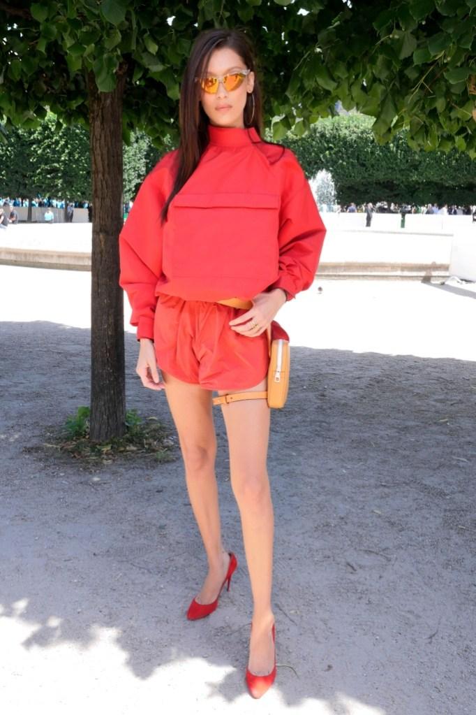 bella hadid, louis vuitton front row, paris men's fashion week
