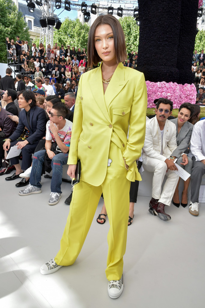 Bella Hadid, Dior Homme, Front Row, Paris Men's Fashion Week, yellow suit, sneakers
