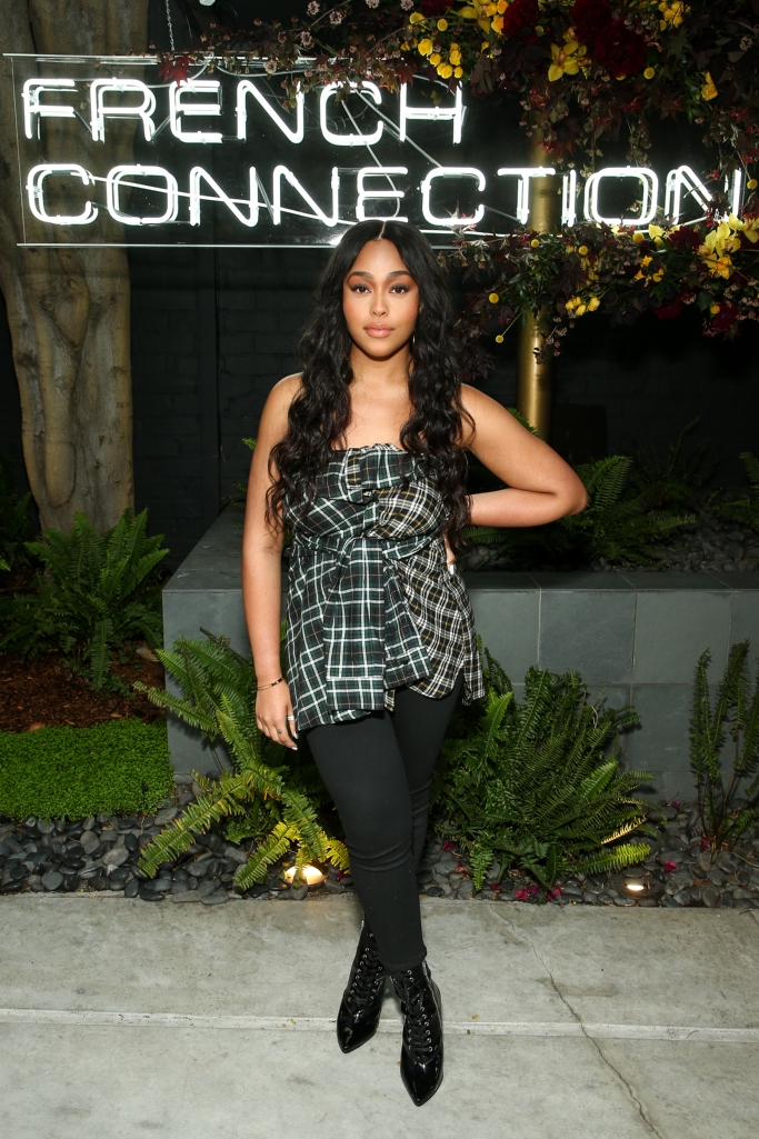 Jordyn Woods wearing a French Connection top, french connection fall 2018 preview