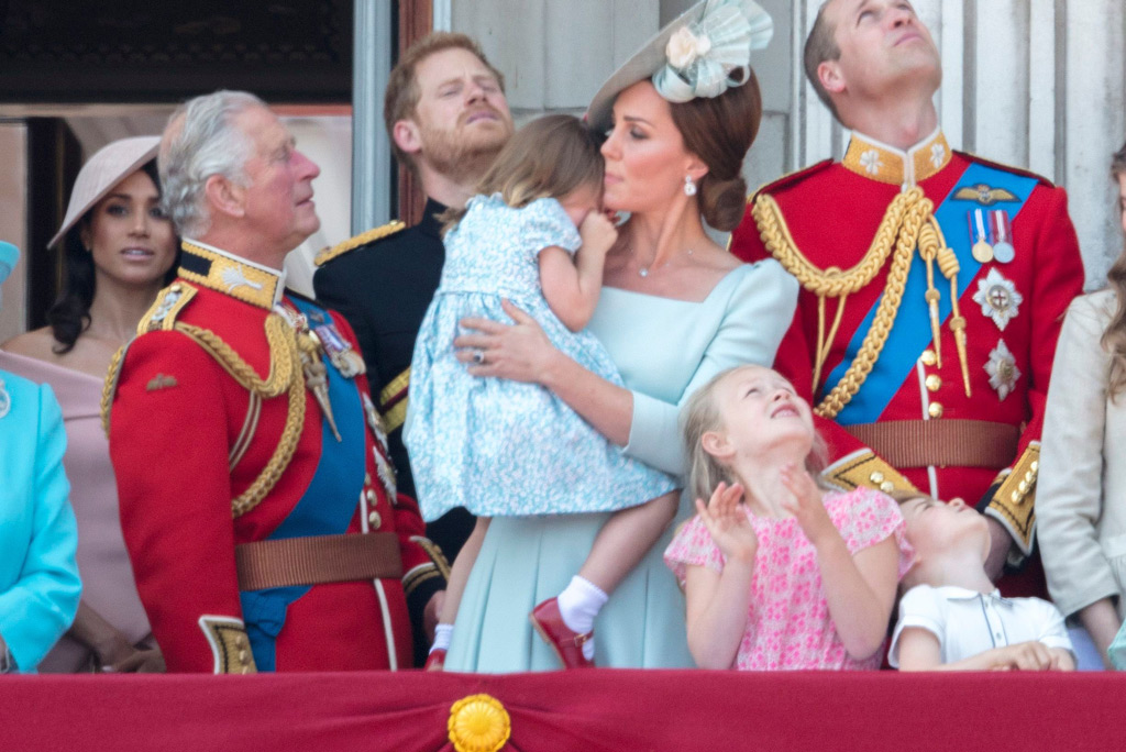 princess charlotte, kate middleton, prince william, prince charles, trooping the colour