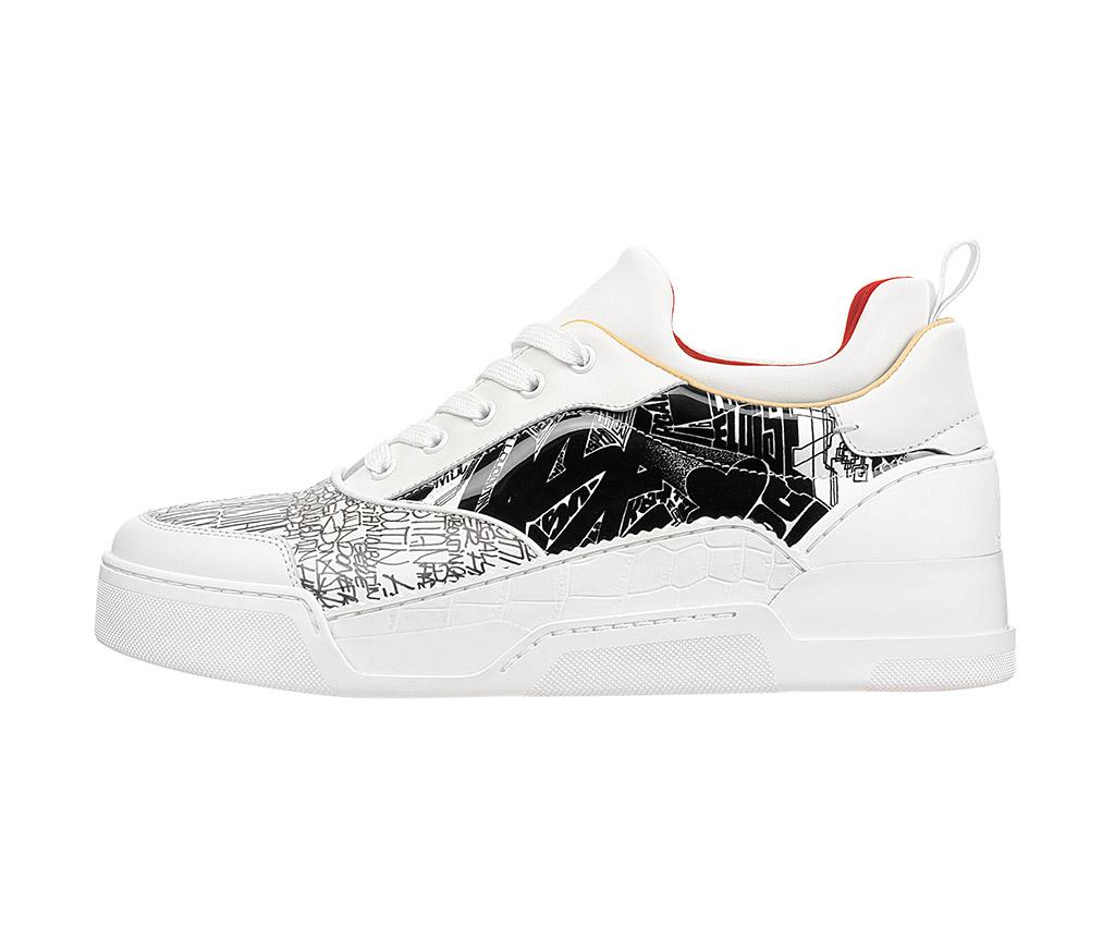 Sneaker, grafitti, Louboutin, white sneaker