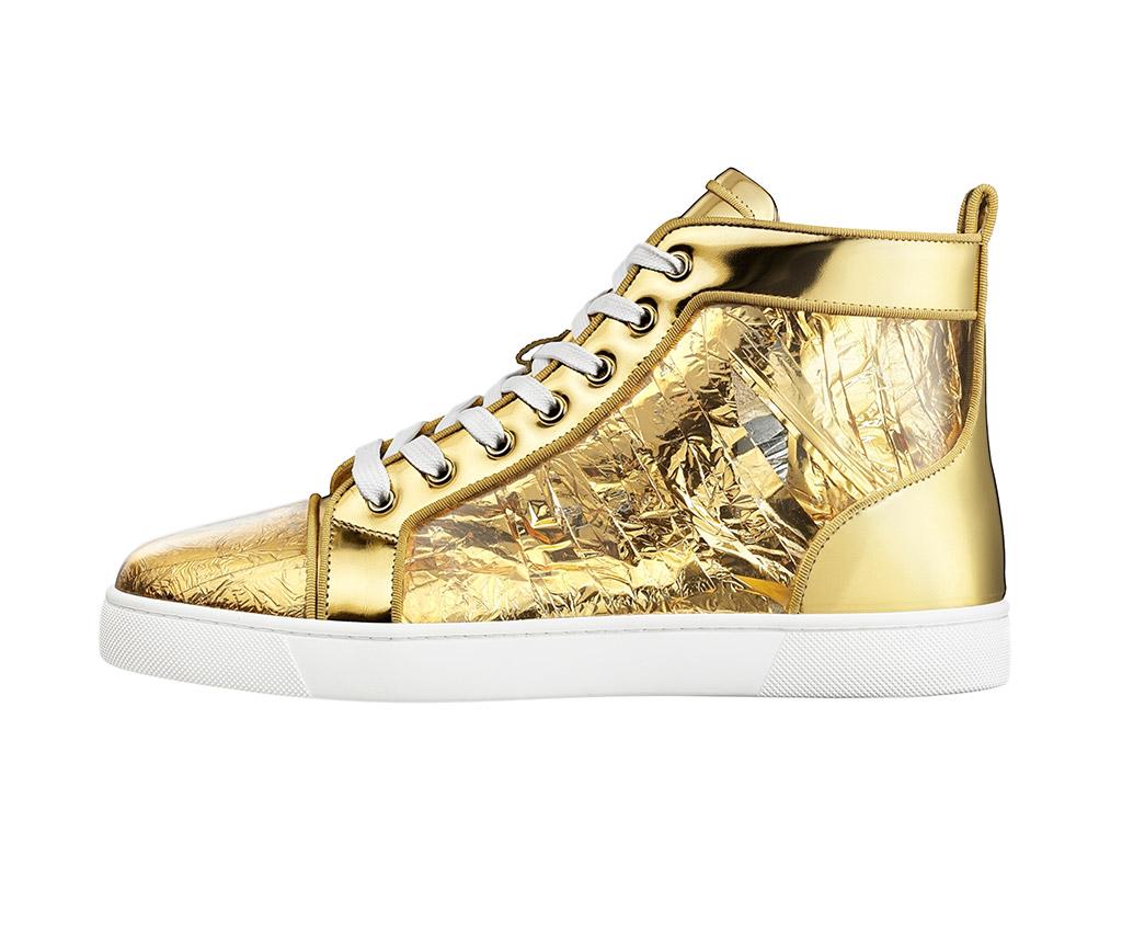 Louboutin, sneaker, gold sneaker, high top, spring 19