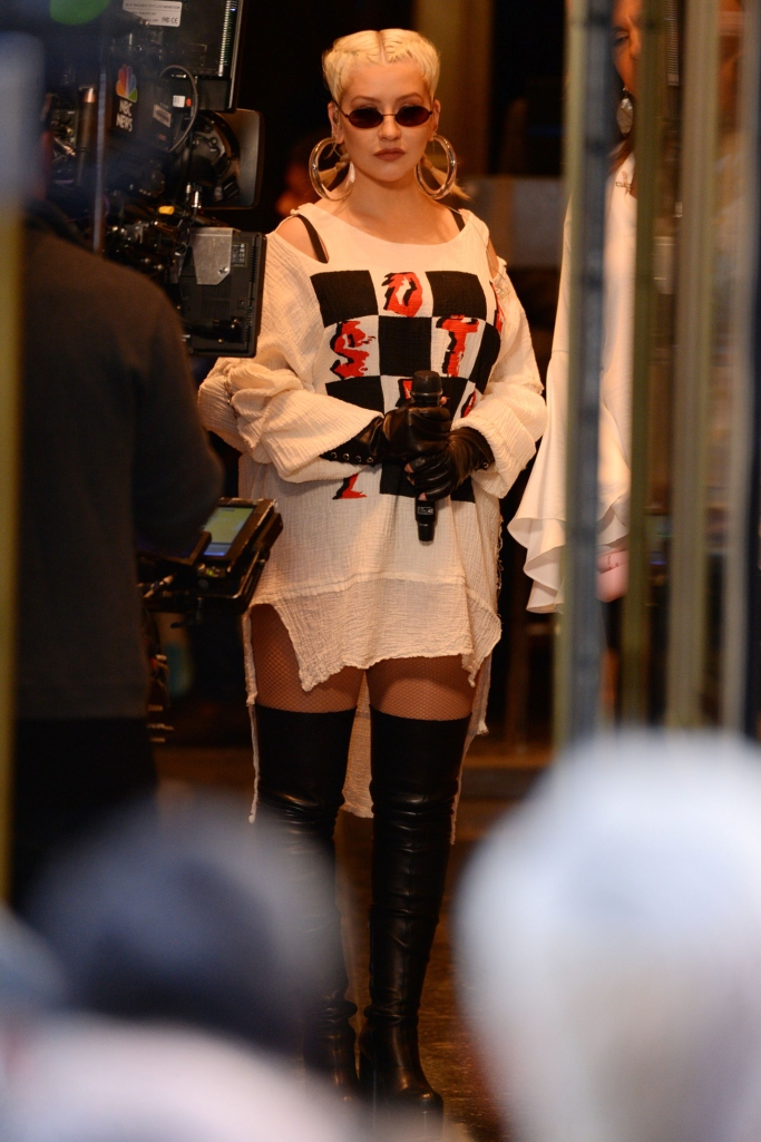 vetements leather platform thigh high boots, Christina Aguilera, the today show concert series