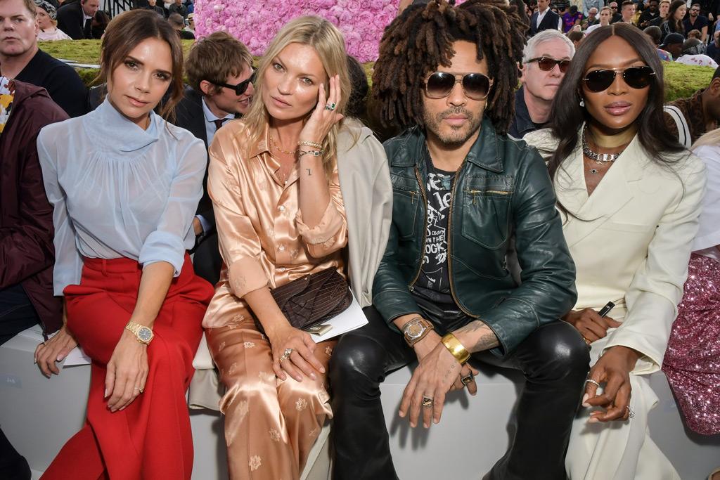 Victoria Beckham, Kate Moss, Lenny Kravitz, Naomi Campbell , dior homme front row