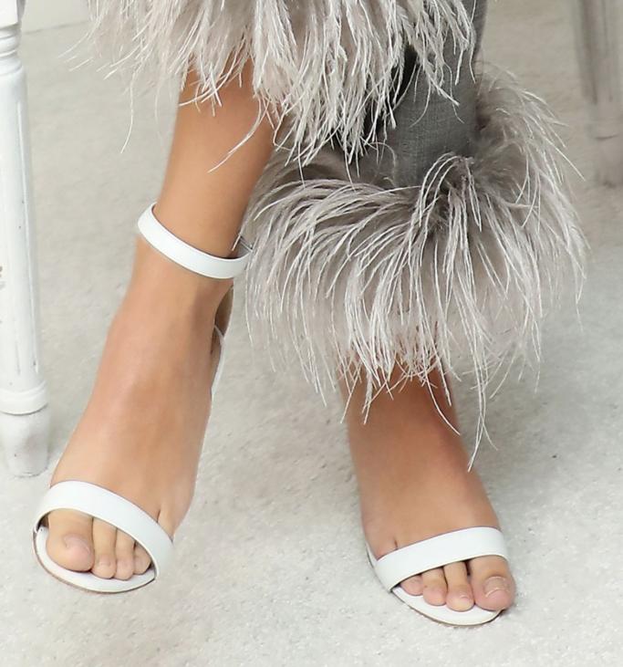 white heeled ankle-strap sandals, Emily Ratajkowski