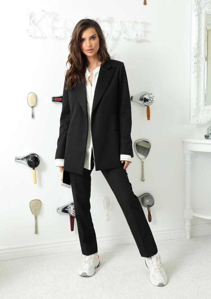 nike m2k tekno dad sneakers, Emily Ratajkowski, ami suit