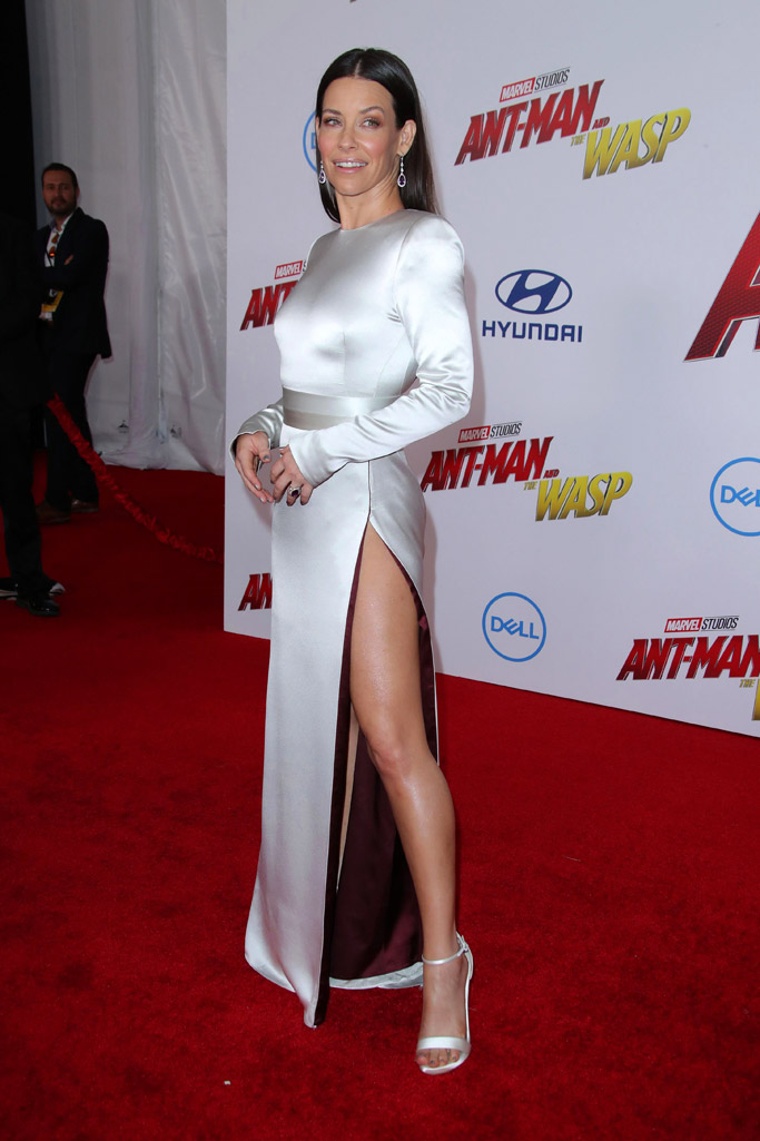 Evangeline Lilly, ant-man and the wasp premiere, legs, silver dress