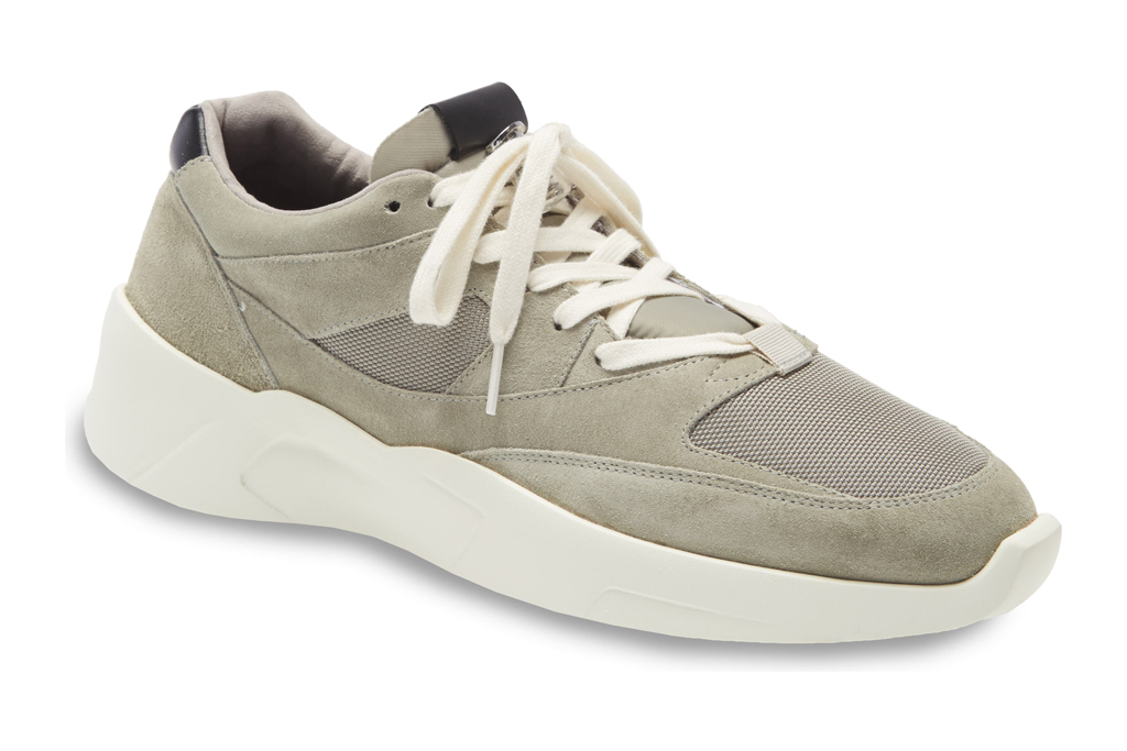 fear of god essentials, sneakers, distance runner, gray