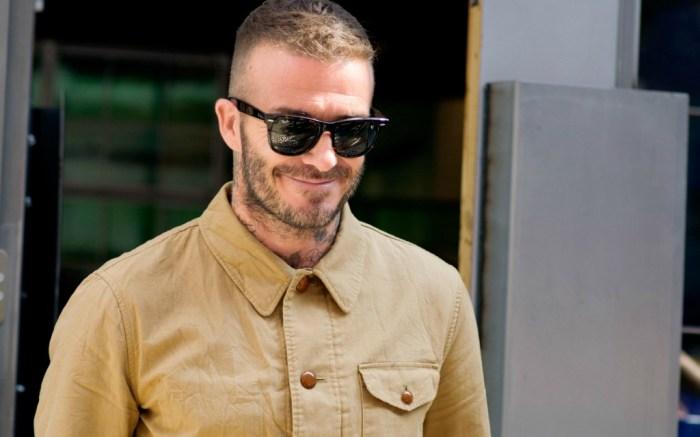 David Beckham attends Kent and Curwen show during Men's Fashion Week in London.