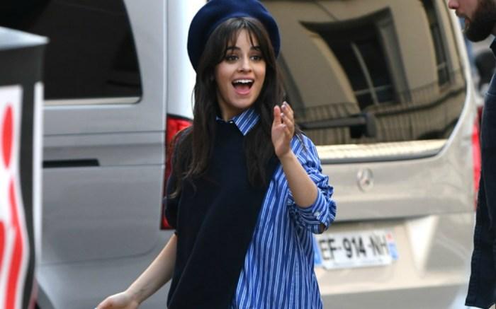 Camila Cabello in Paris wearing striped shirt dress.