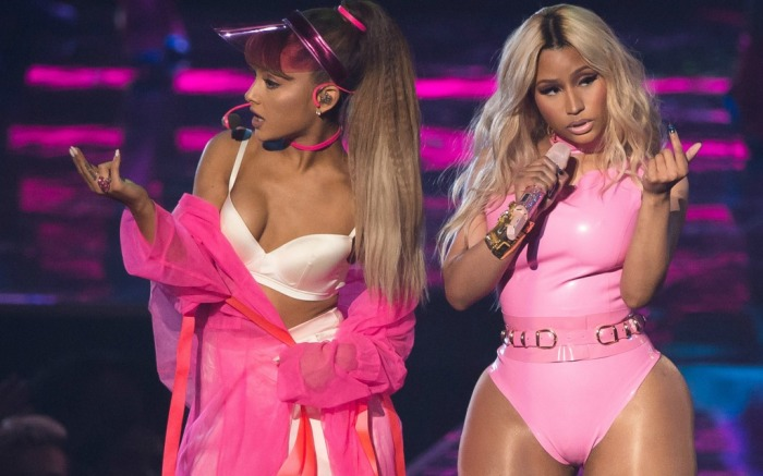 Ariana Grande and Nicki Minaj perform at the MTV Video Music Awards.