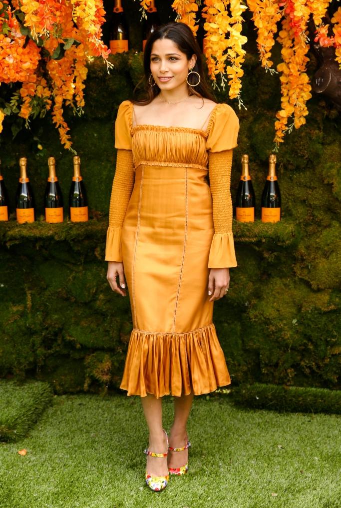 Veuve Clicquot Polo Classic, Freida Pinto wearing Dolce & Gabbana shoes and Cinq à Sept dress,