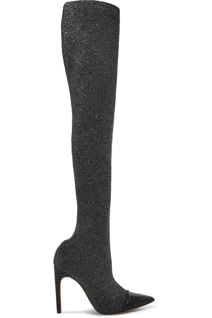 givenchy Leather-trimmed Lurex over-the-knee sock boots