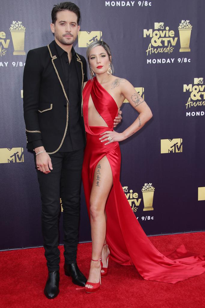 halsey, g-eazy, red carpet, mtv movie awards, red dress, thigh-high slit