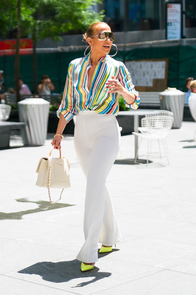 jennifer lopez, summer, christian louboutin, white pants, striped shirt
