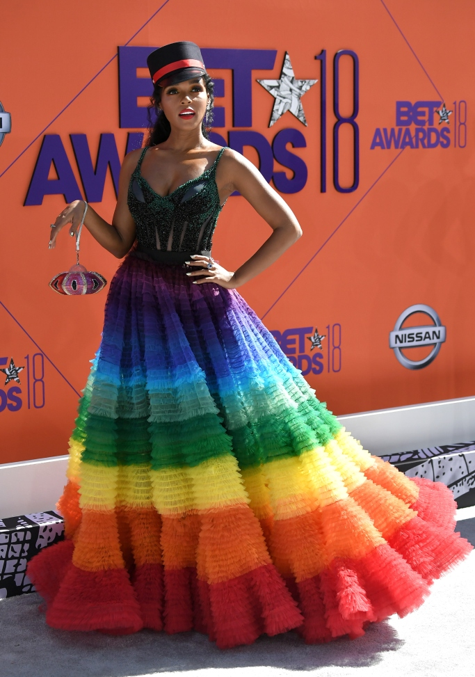 janelle monae, rainbow gown, 2018 bet awards red carpet