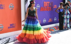 Janelle Monae, rainbow dress, bet awards